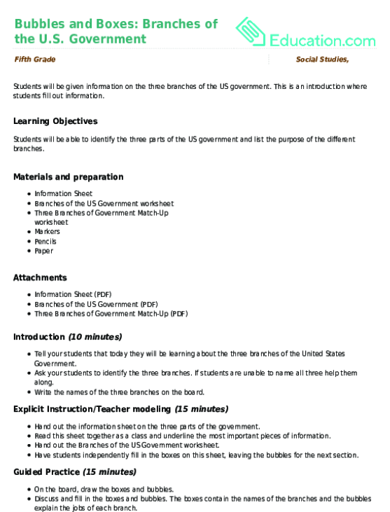 Bubbles and Boxes Branches of the US Government – Three Branches of Government Worksheet