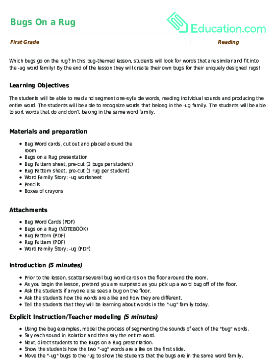Bugs On a Rug Lesson Plan – Ug Word Family Worksheets