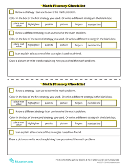 Math Fluency Checklist