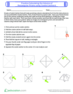 Calculate the Volume of Rectangular Prisms using Cootie Catchers