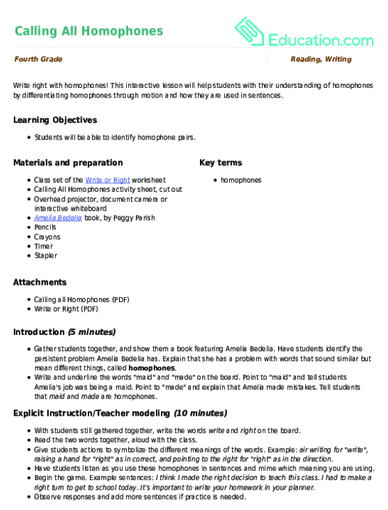 calling all homophones lesson plan com