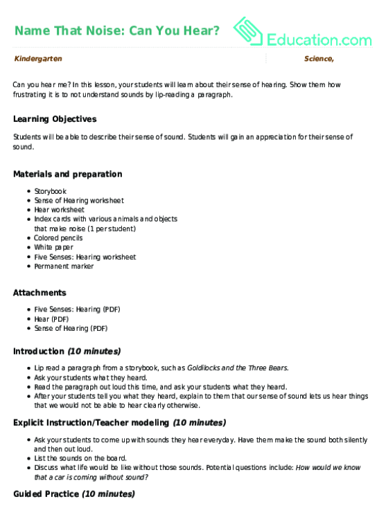 Name That Noise: Can You Hear? | Lesson Plan | Education com