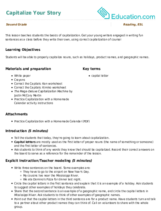 Fix the Letter Commas and Capitalization Worksheet – Capitalization Worksheets 4th Grade