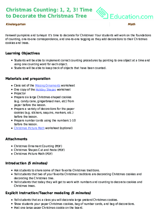 Christmas Ornament Counting Worksheet Education