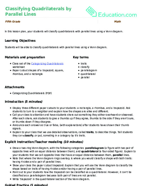 Classifying Quadrilaterals By Parallel Lines Lesson Plan