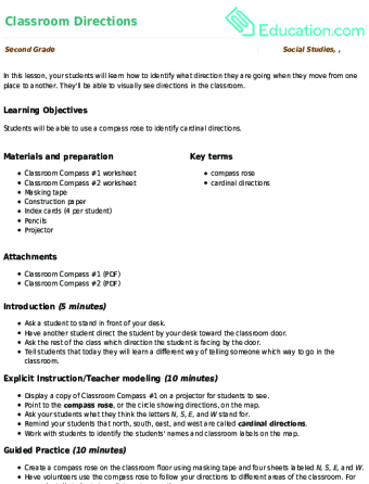 Classroom Directions | Lesson Plan | Education.com | Lesson plan ...
