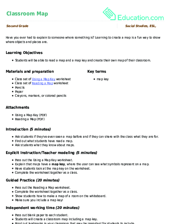 Classroom Map Lesson Plan Lesson Plan – Reading a Map Worksheet
