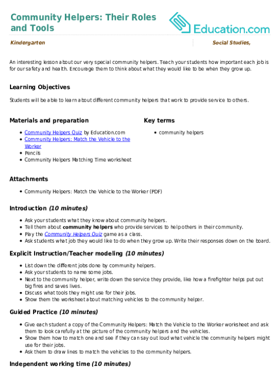 Community Helpers Their Roles and Tools Lesson Plan – Community Service Worksheet