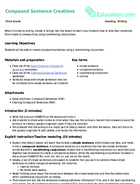 Compound Sentence Creations | Lesson plan | Education.com