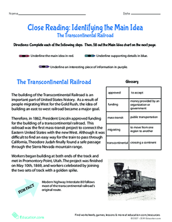 Find & Support the Main Idea: The Transcontinental Railroad
