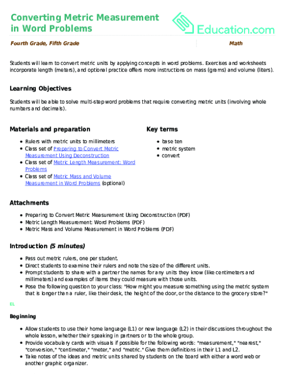 Converting Metric Measurement In Word Problems Lesson Plan. Converting Metric Measurement In Word Problems Lesson Plan Education. Worksheet. Metric System Worksheets 5th Grade At Mspartners.co