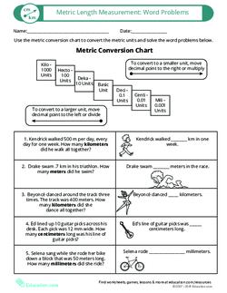 Metric Length Measurement: Word Problems