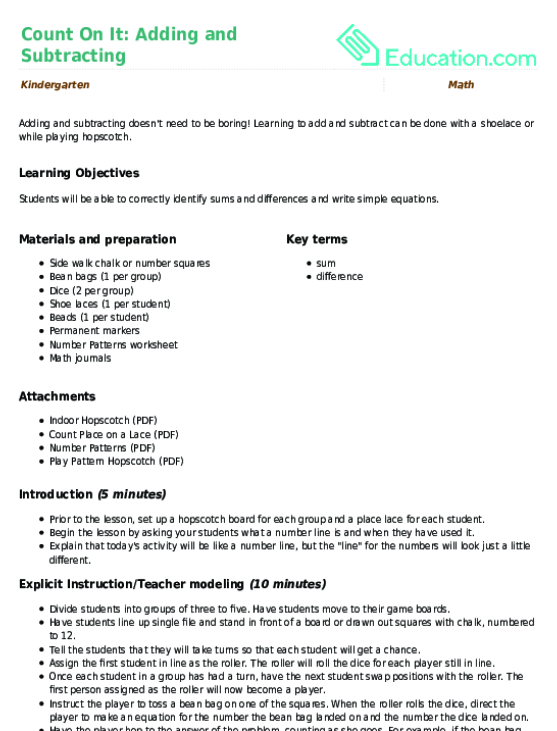 addie model example lesson plan