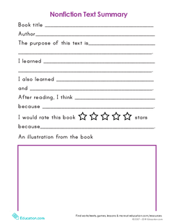 Nonfiction Text Summary Template