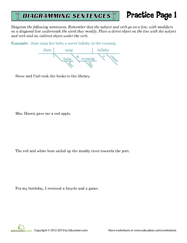 Free worksheets library download and print worksheets free on diagramming sentences worksheets direct and indirect objects ccuart