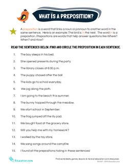 Preposition Examples