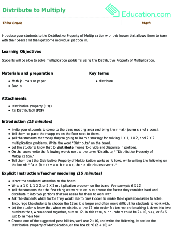 Properties of Multiplication: Distributive | Worksheet | Education.com