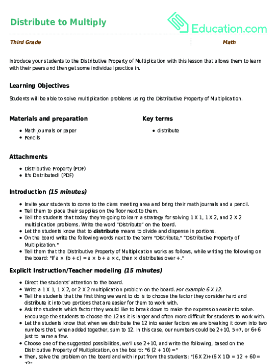 Distribute to Multiply | Lesson Plan | Education.com