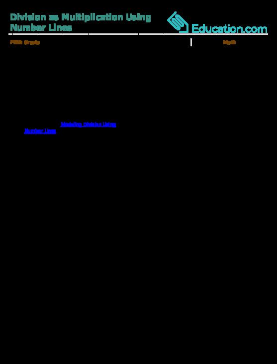 Modeling Division Using Number Lines Worksheet Education