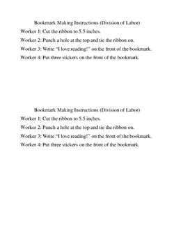Bookmark Making Instructions (Division of Labor)