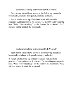 Bookmark Making Instructions (Do It Yourself)