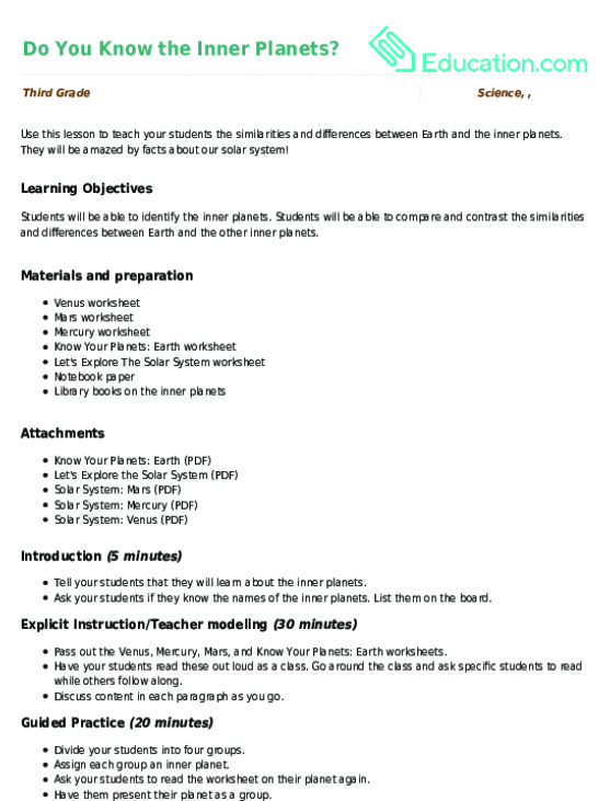 Do You Know the Inner Planets Lesson Plan – The Inner Planets Worksheet