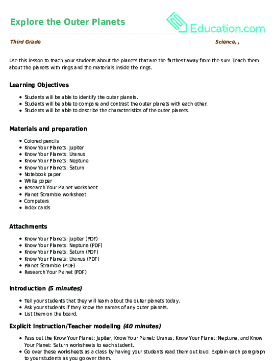 Explore the Outer Planets Lesson Plan – Outer Planets Worksheet