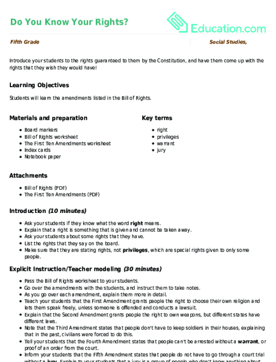 Do You Know Your Rights Lesson Plan Lesson Plan – Bill of Rights Worksheets