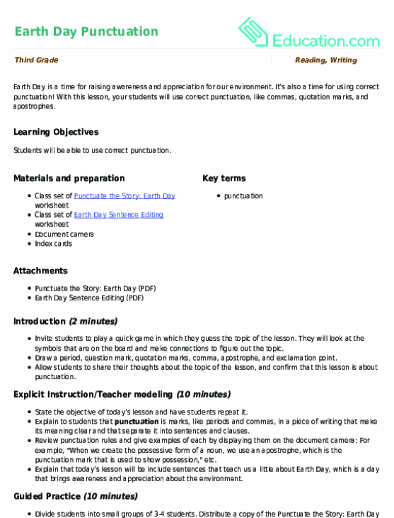 Earth Day Punctuation Lesson Plan Education Lesson Plan