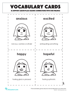 Vocabulary Cards: Making Connections with Our Feelings