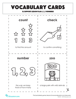 Vocabulary Cards: 1, 2, 3 Numbers!