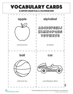 Vocabulary Cards: A-Z Scavenger Hunt