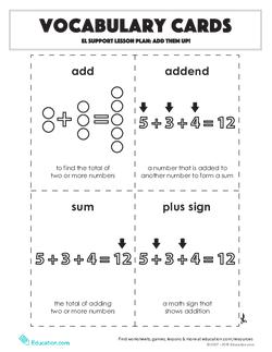 Vocabulary Cards: Add Them Up!
