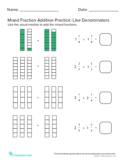 Mixed Fraction Addition with Like Denominators #3
