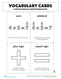 Vocabulary Cards: Addition Problem Solving
