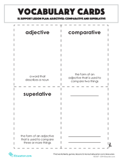 Vocabulary Cards: Comparative and Superlative