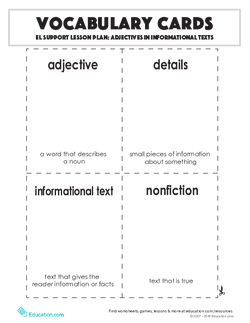 Vocabulary Cards: Adjectives in Informational Texts
