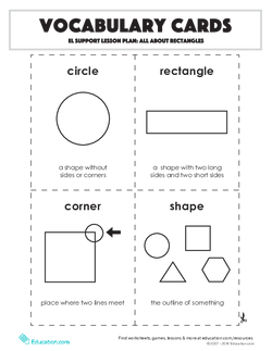 Vocabulary Cards: All About Rectangles