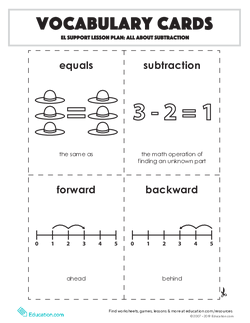 Vocabulary Cards: All About Subtraction