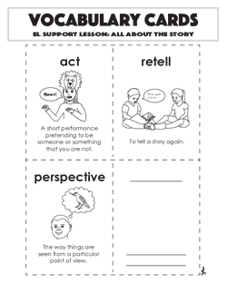 Vocabulary Cards: All About the Story