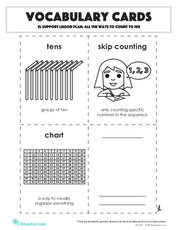 Vocabulary Cards: All the Ways to Count to 100