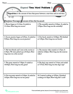 Elapsed Time Word Problems 1