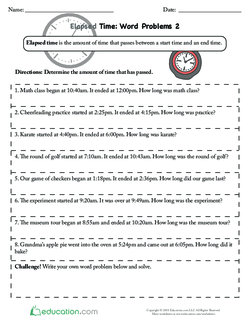 Elapsed Time Word Problems 2