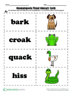 Onomatopoeia Visual Glossary Cards
