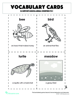 Vocabulary Cards: Animal Counting to 5