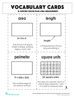 Vocabulary Cards: Area Arrangements