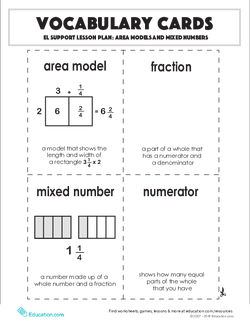 Vocabulary Cards: Area Models and Mixed Numbers