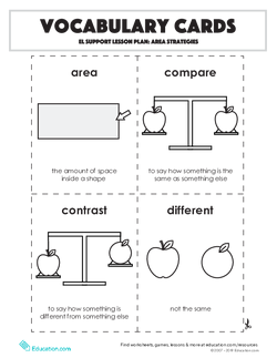 Vocabulary Cards: Area Strategies