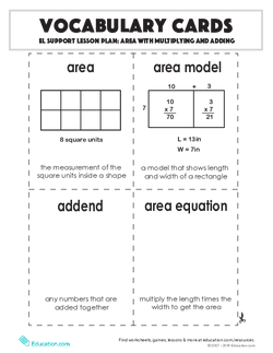 Vocabulary Cards: Area with Multiplying and Adding