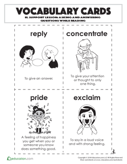 Vocabulary Cards: Asking and Answering Questions While Reading